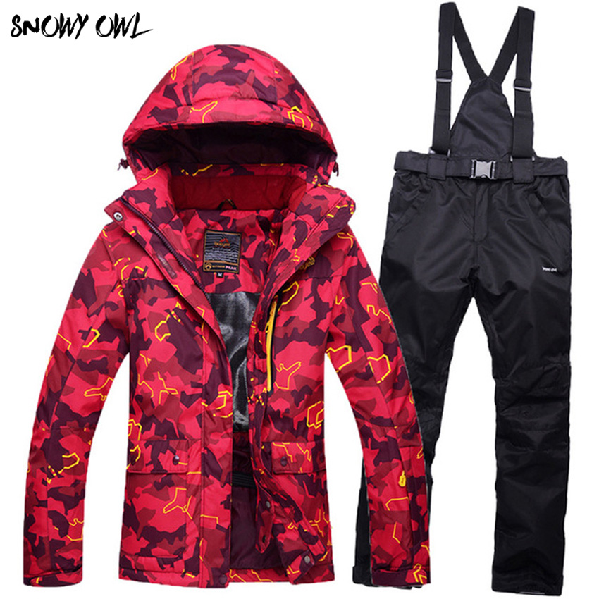 Winter Woman Ski Suit 2017 Woman's Wear Camouflage Jackets Pants Waterproof Windproof suit clothes pants High Quality h280 tailored suit pants