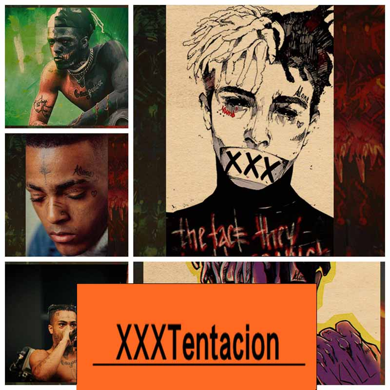 COSY MOMENT American Rapper XXXtentacion Lil Peep Retro Poster And Prints Photographic Paper Wall Pictures For Living Room QT606