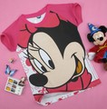 Women's short-sleeve 100% cotton rose color gaofei dog and happy mickey cartoon t-shirt lady t shirt