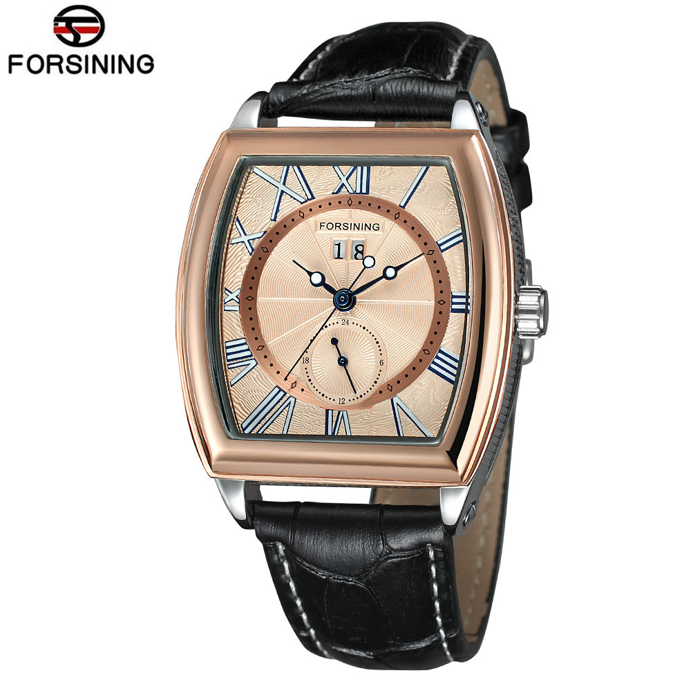 New Forsining Casual Men's Tonneau Day PU Leather Watches Relogio Masculino Wristwatch Gift Box Free Ship