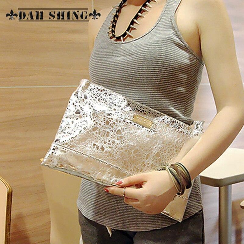 Fashion Silver Golden women's genuine leather handbag chain envelop clutch cross-body bag shoulder bag golden cross beach cross body jewelry
