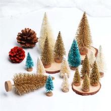 8 Pcs/Set High Quality Small Cute Christmas Tree DIY Mini Sisal Bottle Brush Frost Fake Pine For Xmas Decorative Gift