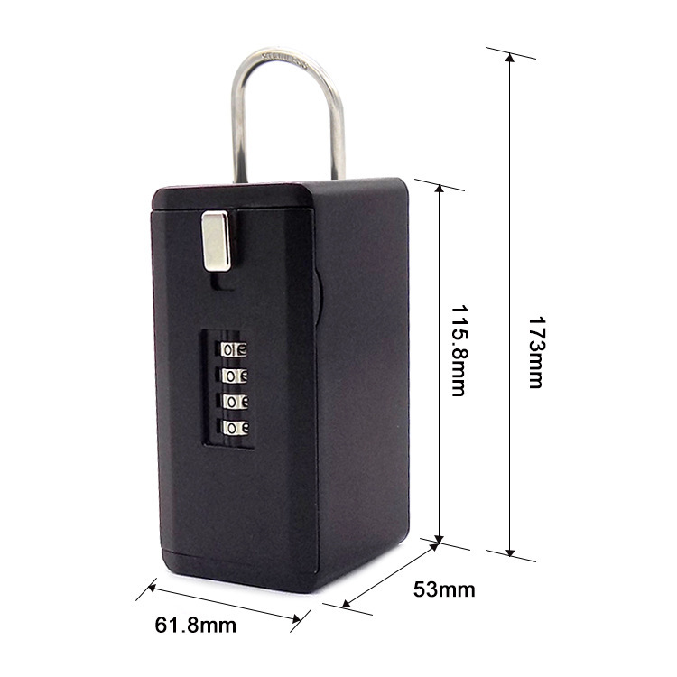Newest Outdoor Key Safe Box Keys Storage Box Padlock Use Four Password Lock Alloy Material Keys Hook Security Organizer Boxes