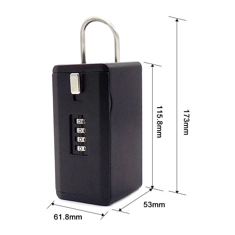 Newest Outdoor Key Safe Box Keys Storage Box Padlock Use Four Password Lock Alloy Material Keys Hook Security Organizer Boxes