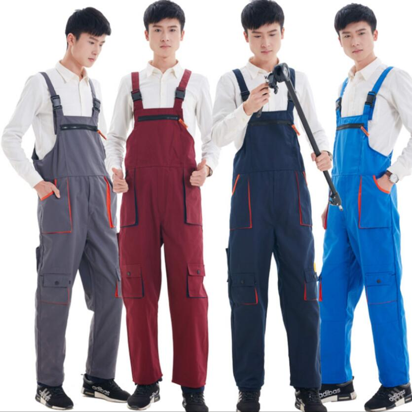 S-4XL Workwear Men's And Women Repairman Strap Jumpsuit Trousers Four Seasons Protective Coverall Work Blue Tooling Bib Pants
