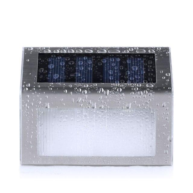 2 LED Солнечной энергии Из Нержавеющей Стали Лестница Шаг Настенный Светильник Для Сада Светильник Освещение Открытый Водонепроницаемый Закон Лампы Мощность