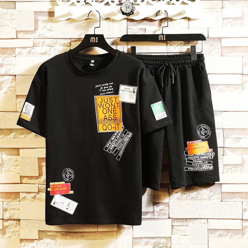 Summer Fashion Print Shirts Men+Shorts Set Men Short Sleeve Shirts Casual Men Clothing Sets Tracksuit Hip Hop Plus Size 5XL