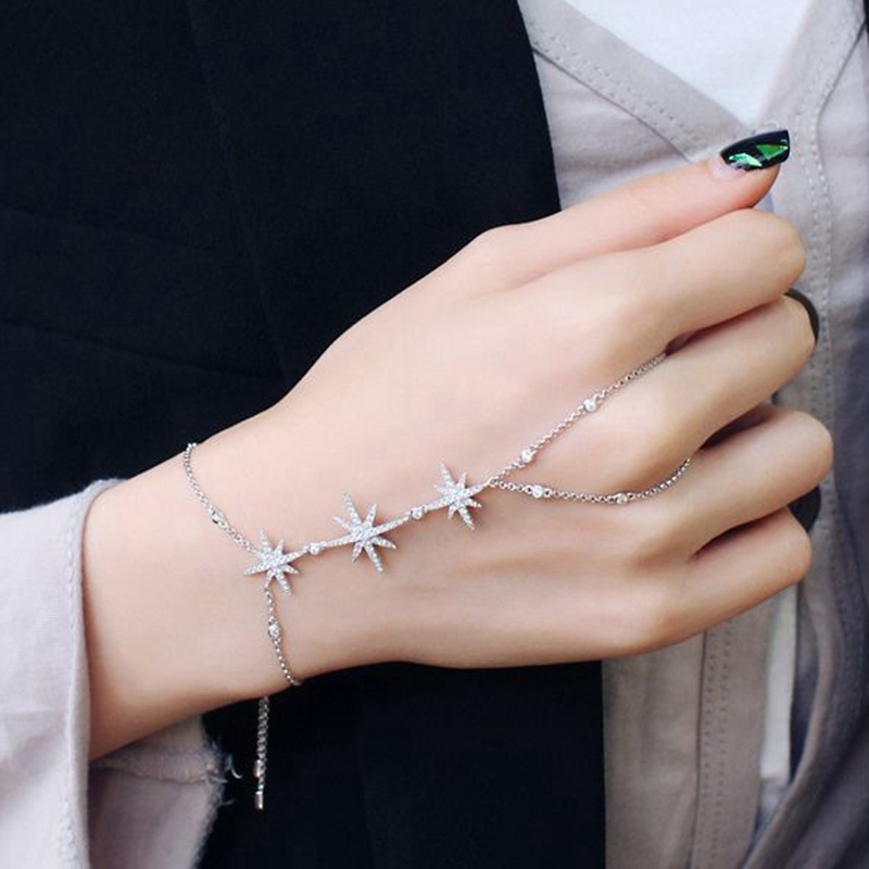 MIGGA 2017 Trendy Zirconia Crystal Stars Slave Chain Bracelet for Women Finger Hand Adjustable Chain Jewelry