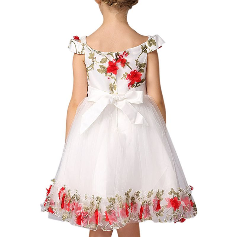 2017 Summer Sweety Flower Girl Baby Princess Embroideried Pageant Dress Prom Party Tutu Tulle Dress
