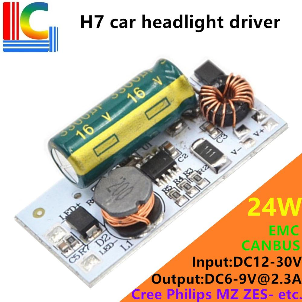 24W H1 H3 <font><b>H7</b></font> H11 9005 9006 <font><b>LED</b></font> Car <font><b>headlights</b></font> Driver EMC CANBUS DC 12V to 30V Output 6V 9V 2300mA Power Supply for CREE <font><b>Philips</b></font> image