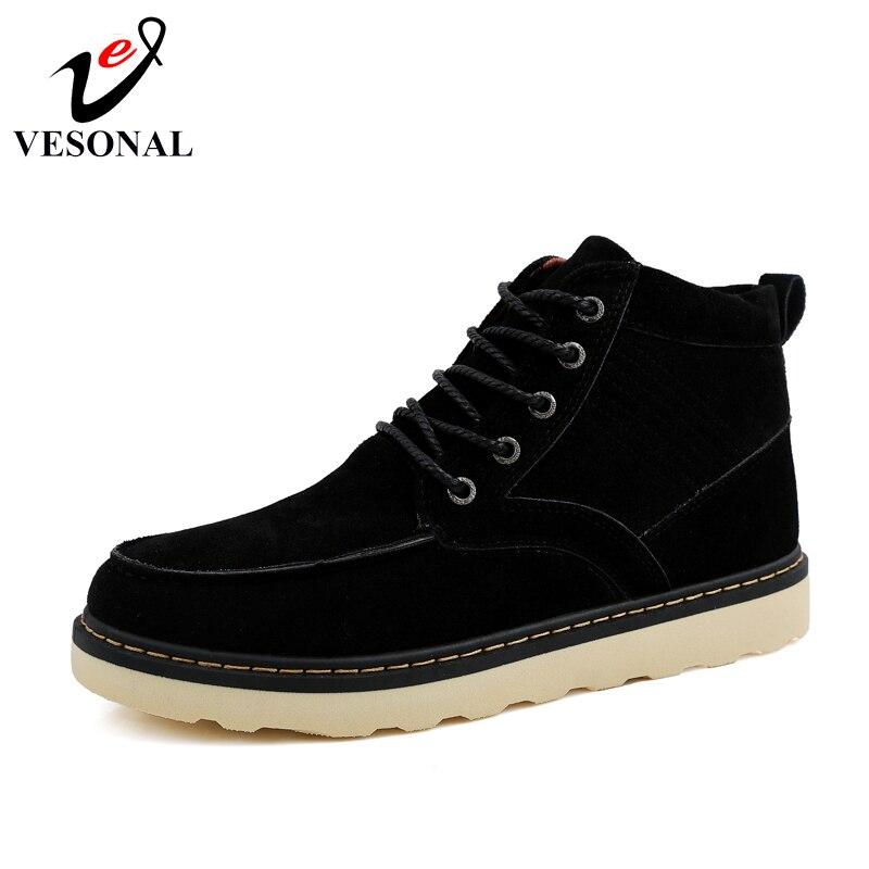 Besorgt Vesonal 2018 Mode Flock Stiefeletten Für Männer Männliche Schuhe Erwachsene Stiefel Winter Warmen Arbeit Walking Schuhe High Top Schuhe