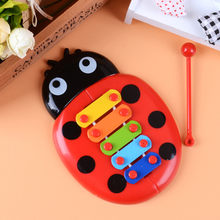 Musical Toys Percussion Kids Music Instrument Cute Cartoon Inset Beetle Baby Early Learning Educational Funny Toy Random Color(China)