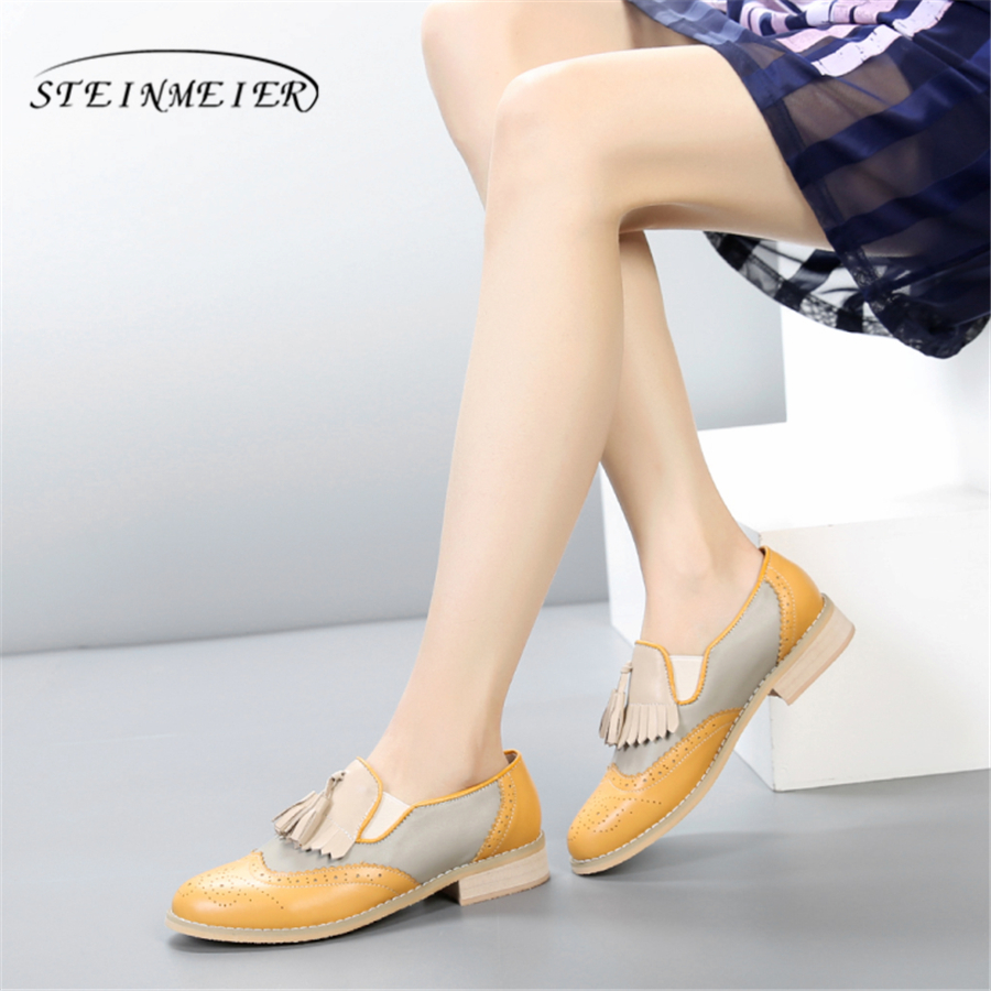 100% Genuine cow leather brogue casual designer vintage lady flats shoes handmade oxford shoes for women black yellow pink vintage designer 100