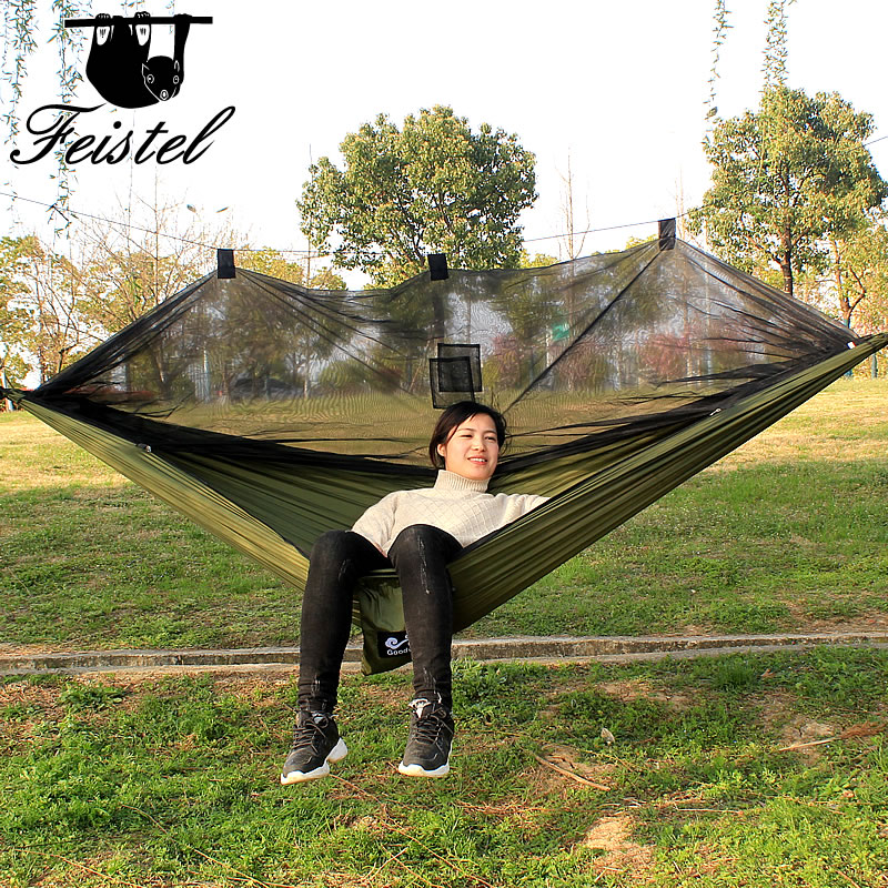 1 or 2 person Portable Hammock Folded Into The Pouch Mosquito Net Hammock Hanging Bed Travel Kit Camping Hiking