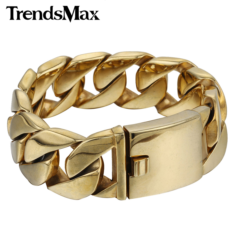 Trendsmax 24mm Wide Customize Any Length Heavy Thick Gold Plated Round Curb Mens Chain 316L Stainless