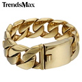 Trendsmax 24mm Wide Customize Any Length Heavy Thick Gold Plated Round Curb Mens Chain 316L Stainless Steel Bracelet HB321