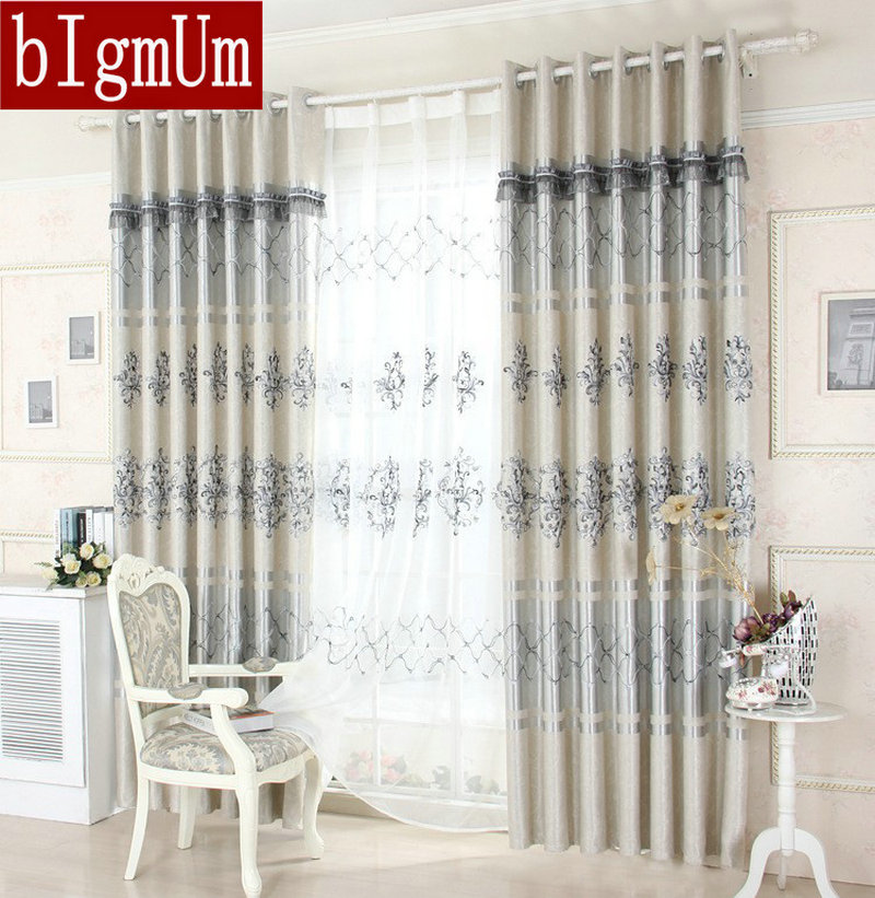 On sale!European Curtains For Living Room Nice Pattern Luxury Embroidered Window Curtains / Treatment/Drapery Grey/Brown