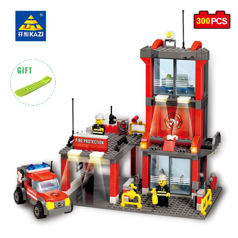 KAZI Fire Station Building Blocks DIY Firefighter Truck Model Brick Educational Toy For Kid Christmas Gift Compatible Legoe City