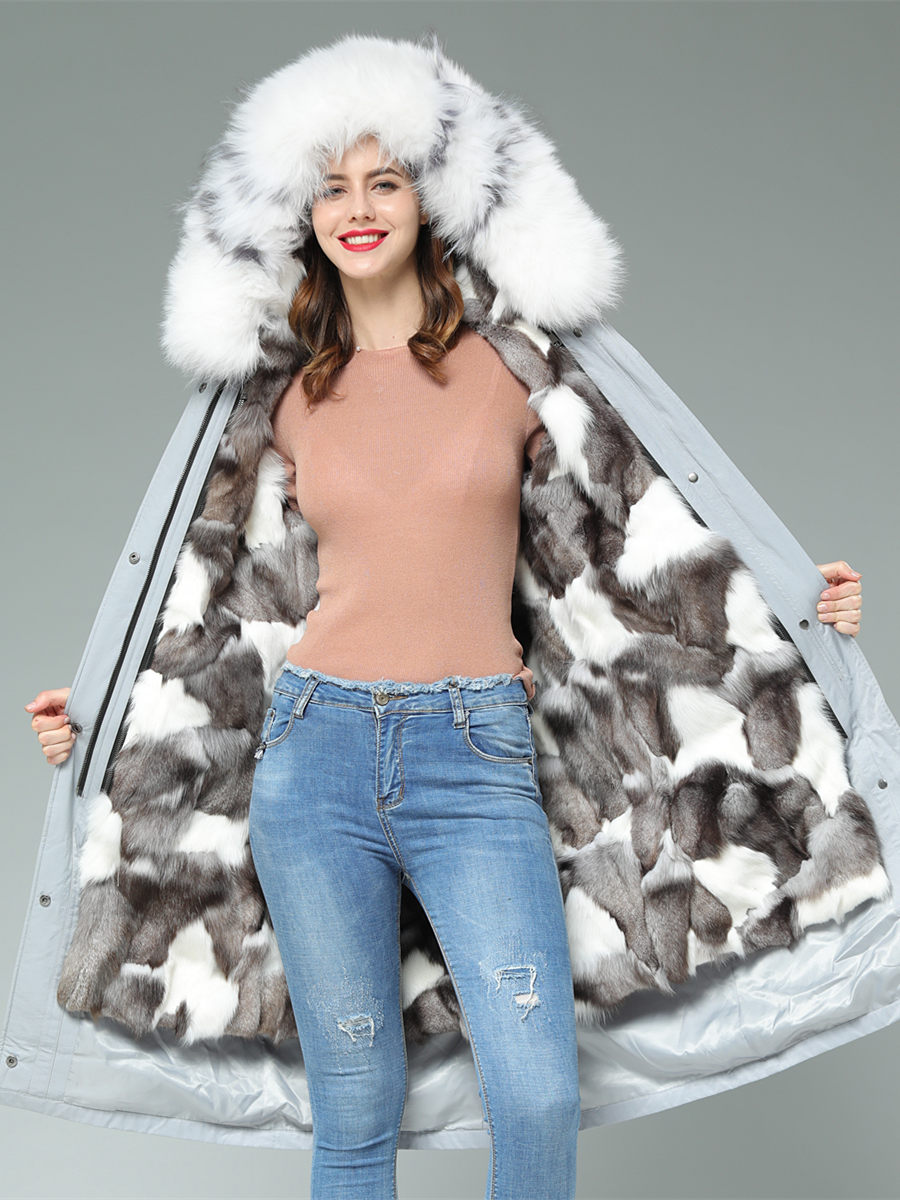 fox fur coat woman  natural fur real  rex fox  Raccoon Muskrat rabbit lining Piecon fur coat girl
