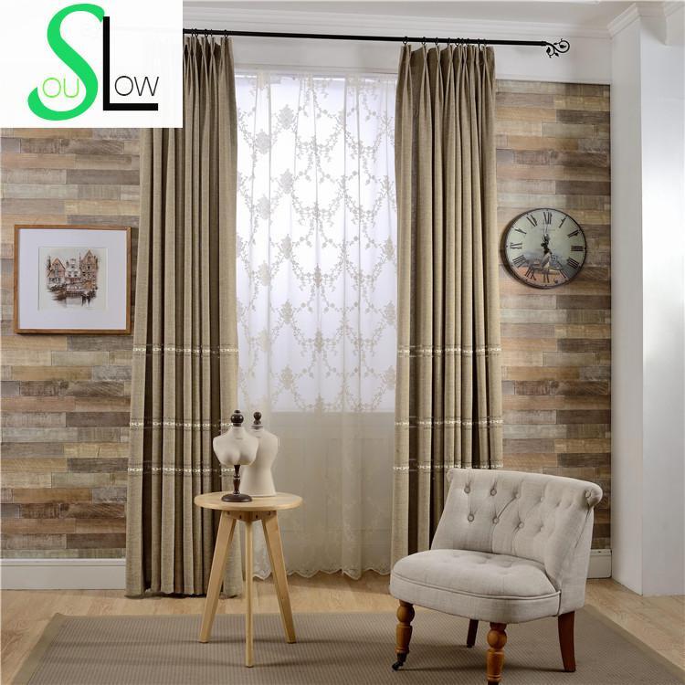 Nový krátký tkaný tkaný plátovaný žakonový záclonový materiál Precizní závěsy Cortinas pro obývací pokoj Luxusní zatemnění