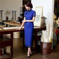 Royal Blue Sexy Cordón de Las Señoras de Largo Cheongsam Qipao Tradicional Chino Vestidos de verano de La Vendimia Más El Tamaño Sml XL XXL XXXL