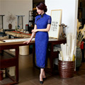 Royal Blue Sexy Lace Ladies' Long Cheongsam Chinese Traditional Qipao Summer Vintage Dresses Plus Size S M L XL XXL XXXL