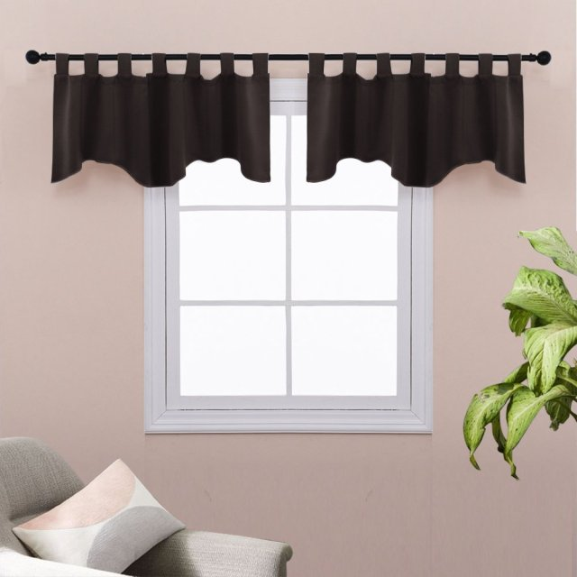 Natural Scalloped Valances Window Treatments Nicetown Blackout Tab