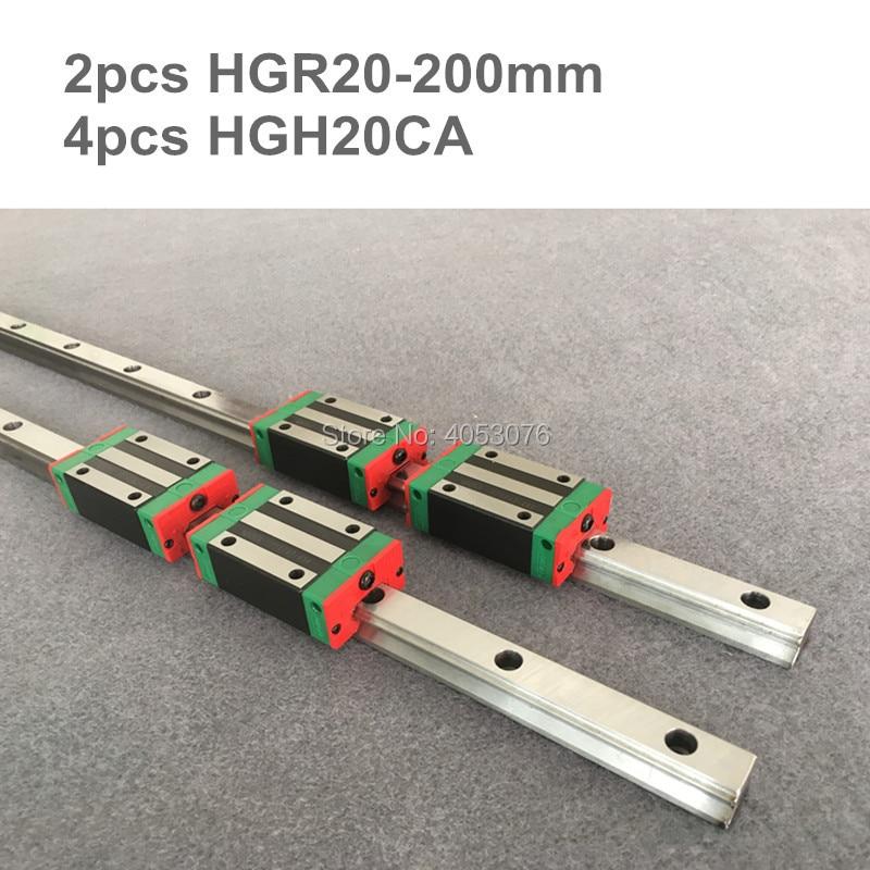 100% original HIWIN 2 pcs HIWIN linear guide HGR20- 200mm Linear rail with 4 pcs HGH20CA linear bearing blocks for CNC parts все цены