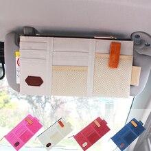 Nova 4 cores Multifuncional Pala de Sol Saco De Armazenamento CD Carro Cartão de Armazenamento Organizador Arranjo Saco de Veículos Pala de Sol Titular Cabide