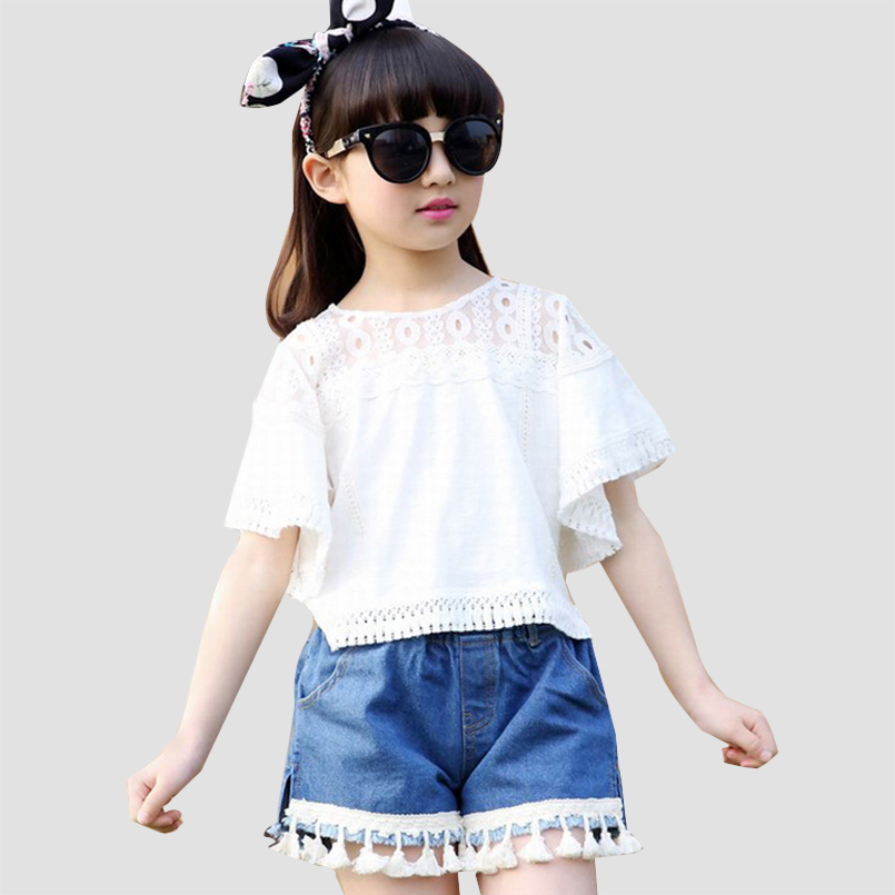 Girls Clothing Sets Cotton Short Sleeve White T-Shirts For Girls Denim Shorts Summer Kids Outfits  Girls Tees & Tassles Jeans kids clothes summer brand t shirt boys girls t shirts kids polo shirts children classic sport cheaper tees short sleeve clothing