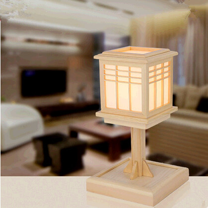New Chinese style rural classic wood Table Lamps Fashion elegant engraved art design lamp for narrow table&bedroom&bedside MF003