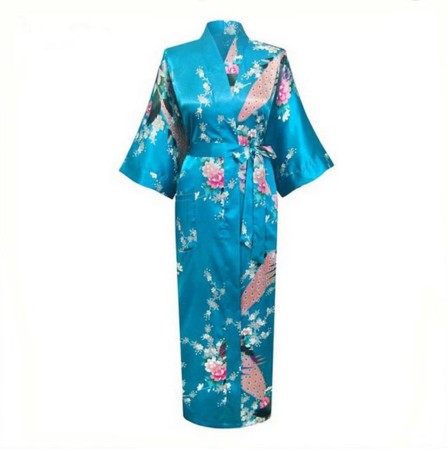 Azul de seda Kimono Sexy roupão salão Sleepwear Plus Size dama de honra da noite adulto roupas de verão RB003