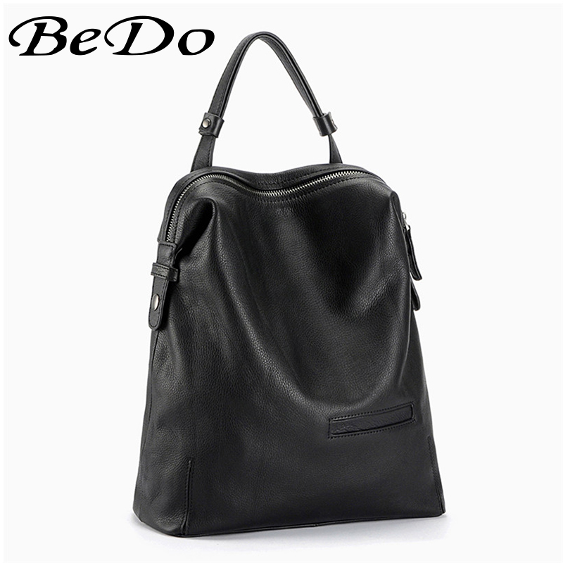 купить BeDo Big Size Real Leather Women Men Backpacks Black Red Simple Fashion Cow Leather Backpacks Women Men Fashion Bags по цене 3489.81 рублей