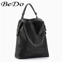 BeDo Big Size Real Leather Women Men Backpacks Black Red Simple Fashion Cow Leather Backpacks Women Men Fashion Bags