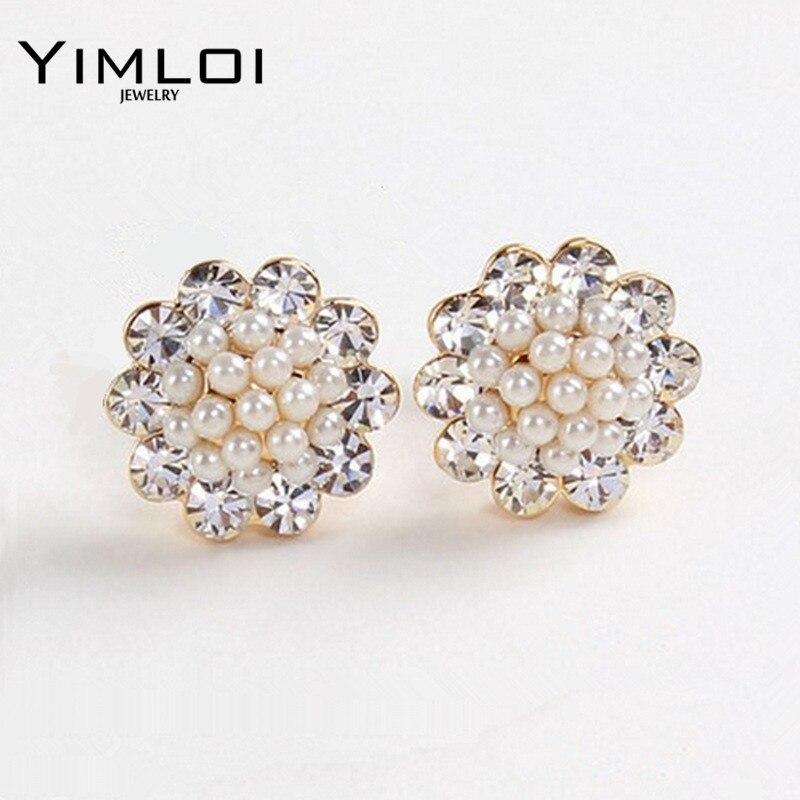 Nice Shopping Co.,Ltd Cute Compact Pearl Ear Stud Women Lady Girls Ball Fashion Alloy Crystal Rhinestone Earrings Chic Gift HOT Jewelry E263