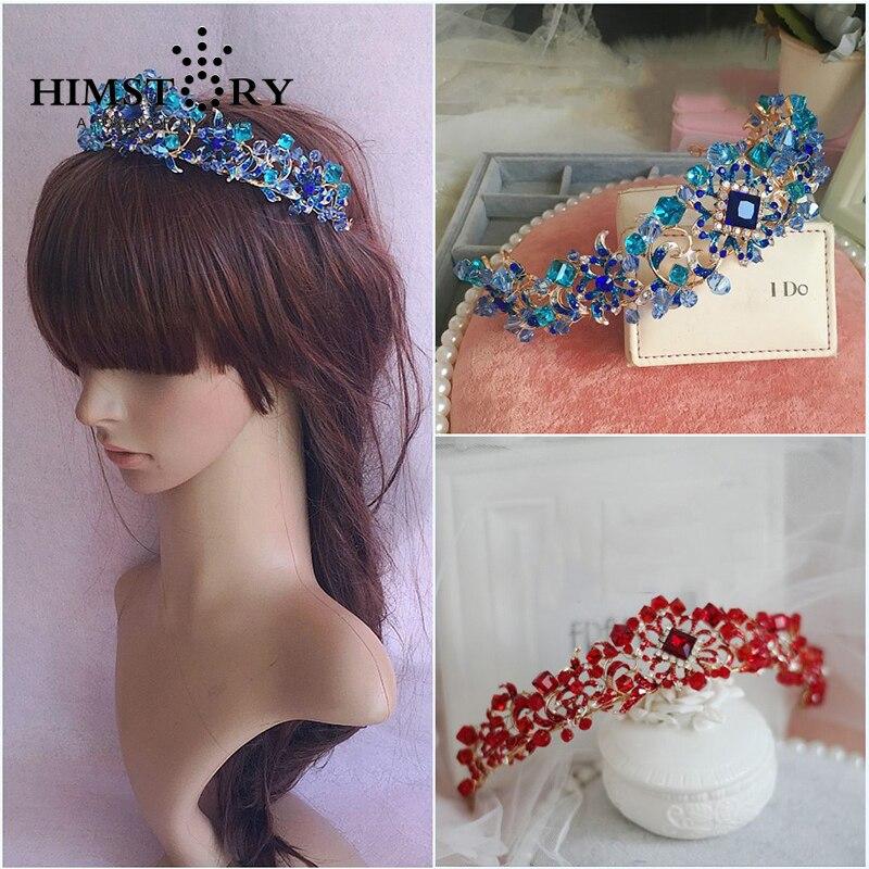 בעבודת יד אלגנטיות קריסטל שיער קראון טיארה כחול/אדום נסיכה ריינסטון קישוטי שיער גומייה לשיער אביזרי חתונה כלה לנשף