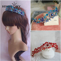 Handmade Elegance Crystal Hair Crown Tiara Blue/Red Princess Rhinestone Hair Ornaments Hairband Prom Bride Wedding Accessories