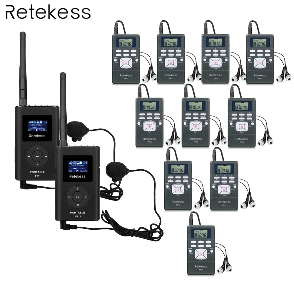 2 FM Transmitter FT11 10 FM Radio Receiver PR13 Wireless Tour Guide System Simultaneous Interpretation for