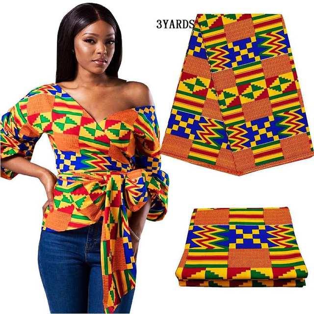 3yards/lot african kenet kitenge wax print fabric real block print fabric 100% cotton nigerian new ankara fabric