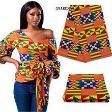 3yards/lot africano kenet kitenge tessuto della stampa della cera reale block stampa tessuto 100% cotone nigeriano nuovo ankara tessuto