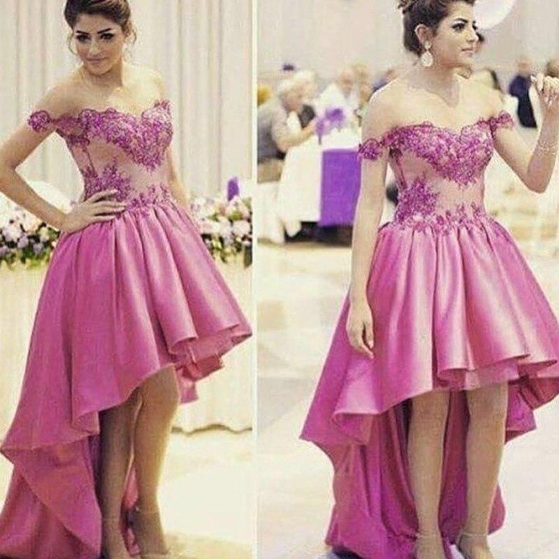 Hot Pink Fucsia Hi low Mujeres Atan Vestidos Altos Bajos de Baile ...