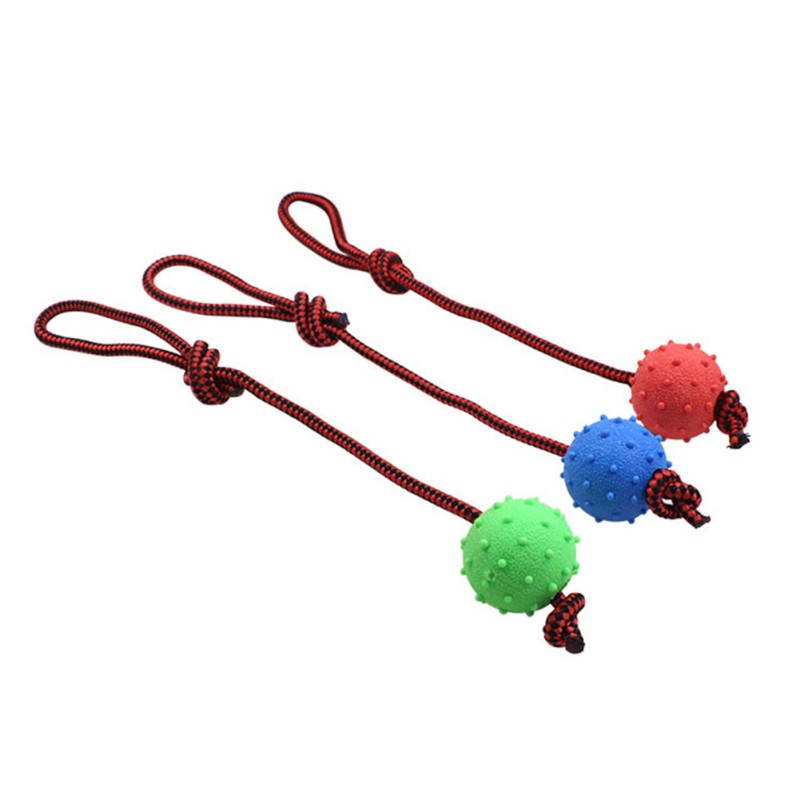 Dog Ball With Rope Indoor Outdoor Pet Rubber Interactive Play Chew Throwing Toys Supplies Random Color
