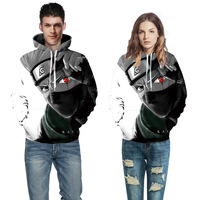 Naruto Starry Wolf Digital printing hooded sweater large size couple installed baseball uniform 2018 cosplay Long sleeve clothes