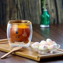 Милый медведь без свинца с двойными стенками ручной работы стекло термостойкие молоко сок напиток чашка изолированные прозрачные стеклянные кружки для чая кофе