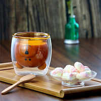Cute Bear Lead-free Double Wall Handmade Glass Heat Resistant Milk Juice Drink Cup Insulated Clear Glass Tea Coffee Drinkware