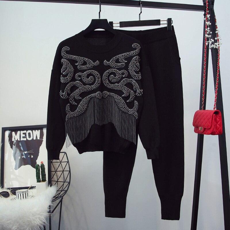 Hiver Designer piste costume ensemble de luxe femmes haut tricot pantalon ensemble de mode femmes à manches longues pull pantalon ensemble-in Sweats à capuche et sweat-shirts from Mode Femme et Accessoires    2