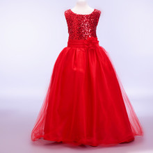 Flower girl dresses new year birthday christmas long belt sequin teen baby toddler age size 3t 6 7 8 9 10 11 12 13 14 15 years цена и фото