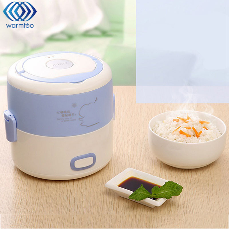 Electric Heating Lunch Box 1.2L Mini Rice Cooker Stainless Steel Liner Portable Steamer Food Container Thermal Box Home