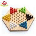 Crianças Jogo de Xadrez Brinquedo De Madeira Hexagonal Montado Inteligência Educacional Brinquedo Blocos Coloridos