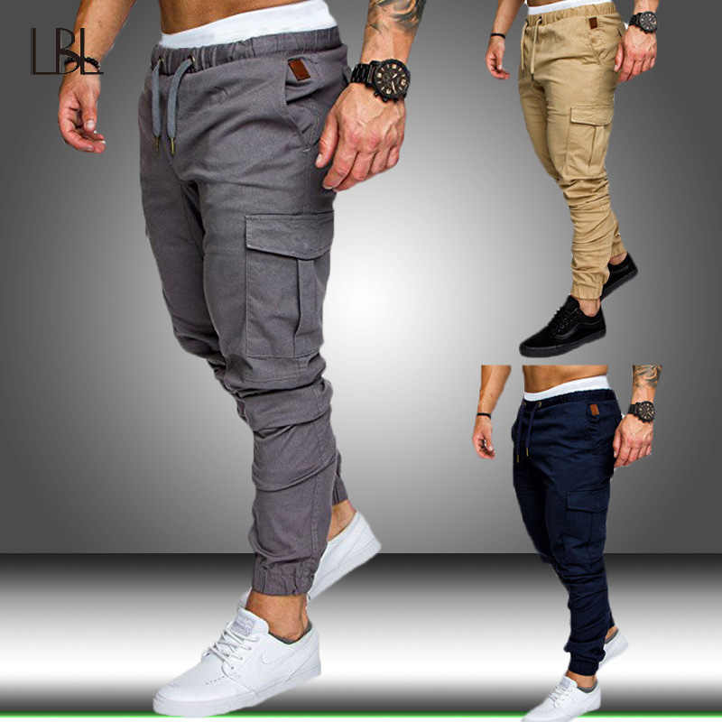 Mannen Broek Hip Hop Harem Joggers Broek 2019 Nieuwe Mannelijke Broek Mens Solid Multi-pocket Cargo Broek Skinny Fit joggingbroek Man